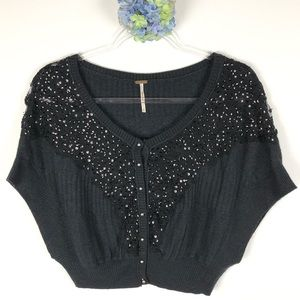Free People Cropped Lace Sequin Cardigan S